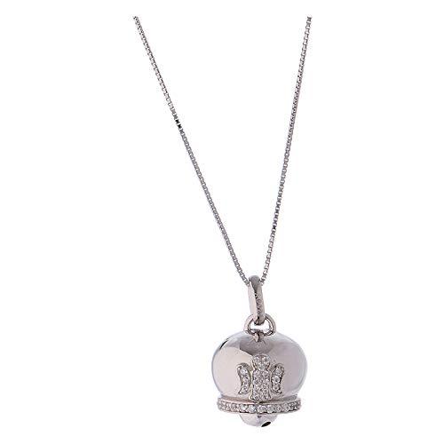 Collana in Argento 925 Ciondolo campanella con zirconi Amen
