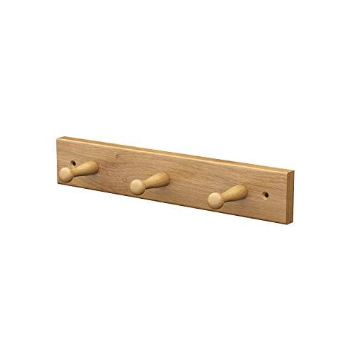 ®   Gancho de Pared de Madera   HG1   Aspecto Natural   Madera de Roble Perchero con 3 Ganchos para Casa Baño Cocina Dormitorio Corredor   31 cm