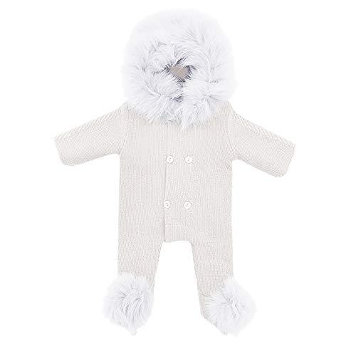 Beudylihy Traje de nieve para niños y bebés, con capucha, chaqueta térmica, abrigo de invierno para exteriores, impermeable, snowboard, invierno blanco 0-6 Meses