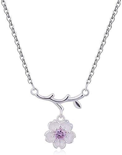 ZPPYMXGZ Co.,ltd Collar de Moda Collar de Flor de Cerezo Colgante de Encanto para Mujer Color Plata Zirconita cúbica Accesorios Camisas de bebé Regalos de Mujer Collar Colgante