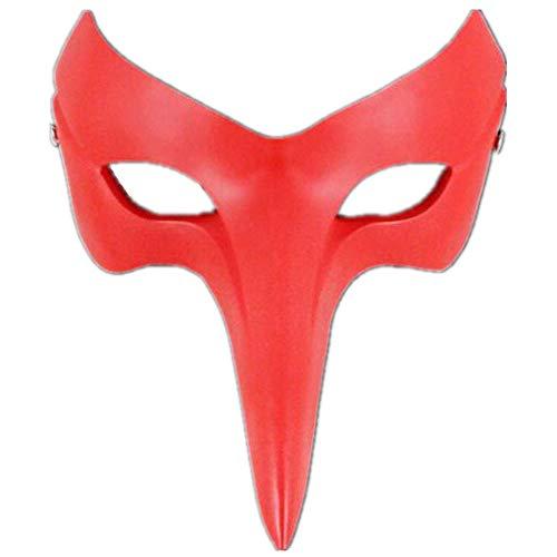 LIBWX Persona 5 Mscaras de Cosplay Accesorio de Disfraz de Cuervo Pico Largo Rojo Goro Akechi Gafas Persona Cosplay