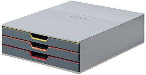 Durable 760327 Schubladenbox A4 (Varicolor) 3 Fächer (mit Etiketten zur Beschriftung) mehrfarbig