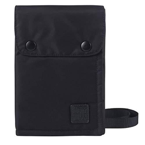 [キロフライ]パスポートケース スマホ収納 スキミング防止 ポータブル 三つ折り 軽量 航空券 防水 7ポケット 海外旅行・出張 ナイロン素材 長さ調整可能 男女兼用 貴重品入れ カードケース (ブラック)