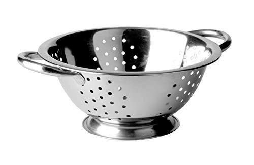 KADAX Nudelsieb aus Edelstahl, Durchschlag, Seiher, Sieb für die Küche, Küchensieb, Filter, Zwei Griffe und eine stabile Basis, für die Geschirrspülmaschine geeignet (24,5cm)