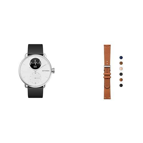 Withings ScanWatch - Reloj Inteligente híbrido con ECG, tensiómetro y oxímetro, 38 mm, Color Blanco + Correa para Steel, 36 mm, Marrón