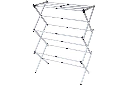 BONBON 3 Tier Clothes Drying Rack Folding Laundry Dryer Hanger Compact Storage Steel Indoor Outdoor