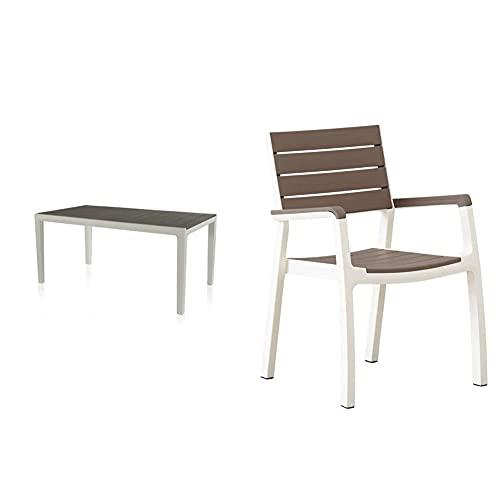 Keter - Set de Mesa y sillas Harmony (Mesa + 6 Sillas con reposabrazos), Color Beige/Topo