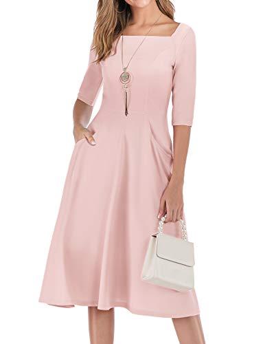 Gardenwed Damen Kleid 1950er Vintage Rockabilly Faltenrock Kleider mit Taschen Midi Cocktailkleid Abendkleider Pink M