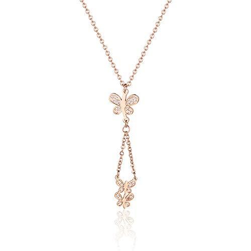 Titanio Oro Rosa Collar con Colgante de Mariposa Moda Cadena de clavícula Acero Inoxidable para Mujer Regalos de joyería
