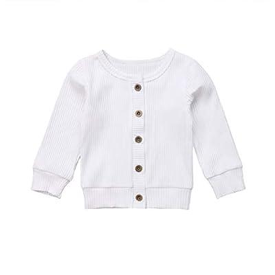 Seyurigaoka Newborn Baby Boys Girls Knit Cardigan Sweater, Infant Button-Down Cotton Sweater, Unisex Baby Clothes (White, 3-6 Months)