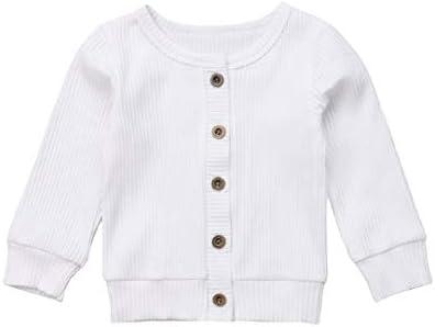 Seyurigaoka Newborn Baby Boys Girls Knit Cardigan Sweater Infant Button Down Cotton Sweater product image