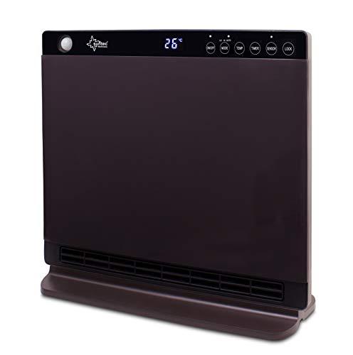 SUNTEC Calefactor de bajo consumo electrico | Estufa electrica portatil | Radiador PTC de aire caliente para el frio | Calentador con termostato programable | Sin gas ni aceite | Heat Screen 1800
