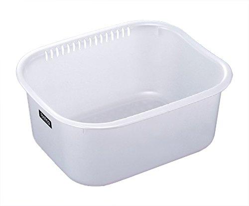 イノマタ化学 洗い桶 フィーリング 角型 35cm幅 パールホワイト