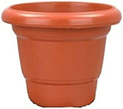 Regalo 10-inch Planter Pot and 8 Inches Tray (Brown) - Pack of 4