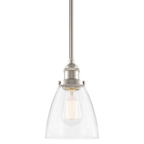 Kira Home Porter 8' Vintage Industrial Pendant Light + Mini Glass Shade, Dimmable, Adjustable Height, Brushed Nickel Finish
