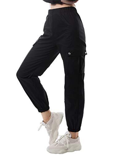 Donna Pantaloni Basic Casual con 4 Tasche Cargo Pantalone da Lavoro Moda Baggy Hip Hop per Trekking Joggers Sportivo Yoga