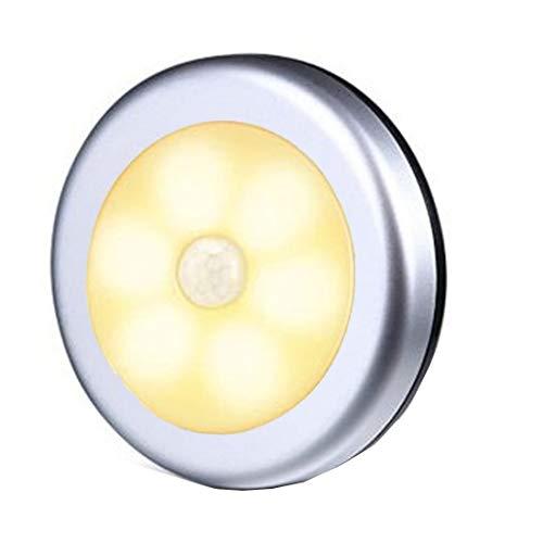センサーライト 室内 屋内 人感 丸形 階段ライト 玄関ライト センサー LED 廊下 電池式 フットライト LSF-03 (オレンジ本体銀色)