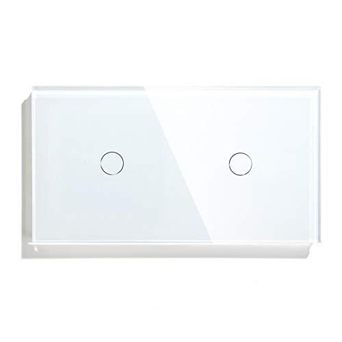 BSEED interruptor tactil 1 Gang 1 Vía+ 1 Gang 1 Vía,interruptor táctil de pared Blanco con indicador LED, 500W interruptores de luz pared con con panel de vidrio templado,sin cable neutro