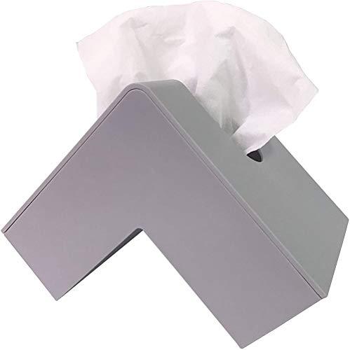 AB - Funda para caja de pañuelos de doble cara, dispensador de pañuelos para baño, escritorio de oficina o mesa de noche, color gris