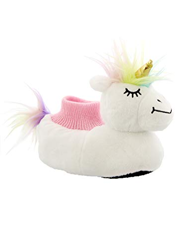 Yankee Toy Box Plush Unicorn Toddler Girls Sock Top Slippers (7-8 M US Toddler, Unicorn White)