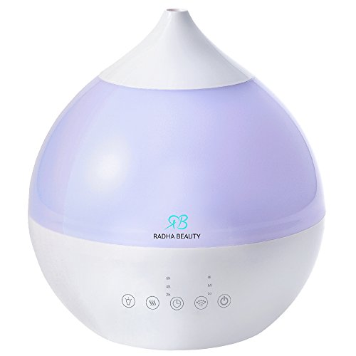 Mistique Ultrasonic Cool Mist Humidifier - 3.0 liter capacity, Whisper-quiet Operation, Automatic Shut-off, 7 Night Light Color Option