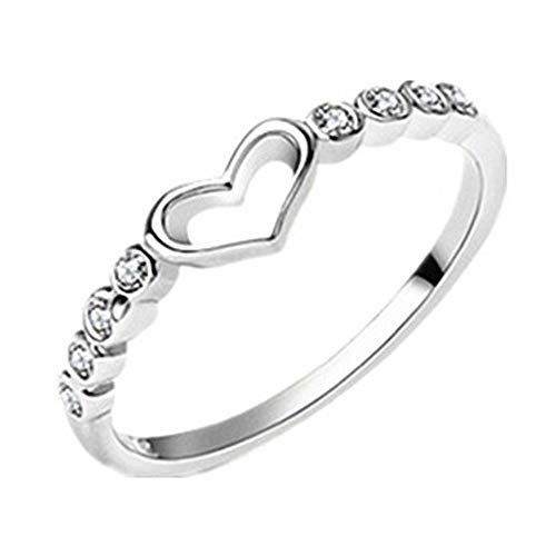 Wean Anillo de diamantes de imitación con forma de corazón hueco, joyería para