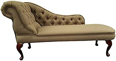 Chaise Longue Traditional in a York Stone Linen Fabric with Queen Anne Legs