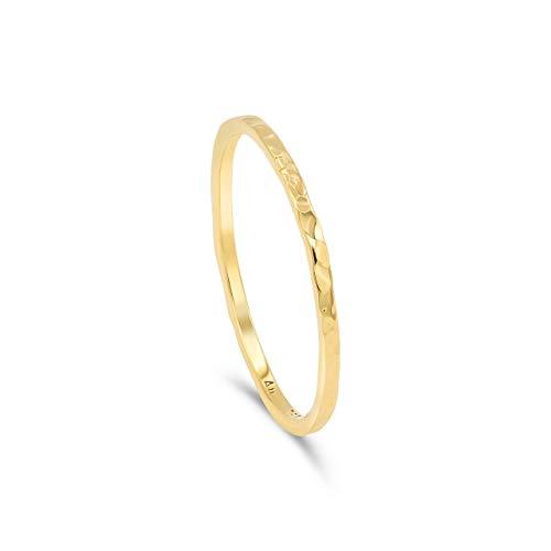 Goldring Damen gehämmert. Schmuck Ring aus 750 Gold 18k Gold | Stapelring minimalistisch