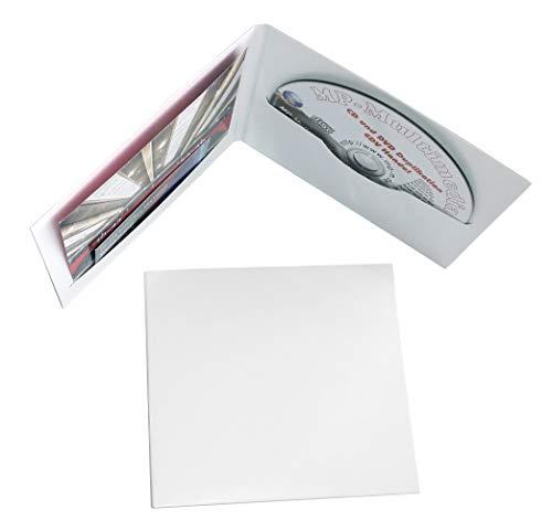 100 Digifile CD Hüllen aus Karton, CD Papphüllen weiß glänzend mit Schlitz für 1 CD/DVD/Blu-ray und Booklet/Cover Einleger, Made in Germany