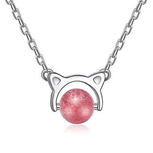 GYUFU Collar de Regalo para Mujer S925 Collar de Cristal de Fresa con Gato de Plata Esterlina, Collar de Cristal Natural con Cadena de Clavícula Corta,Plata, Plata 925