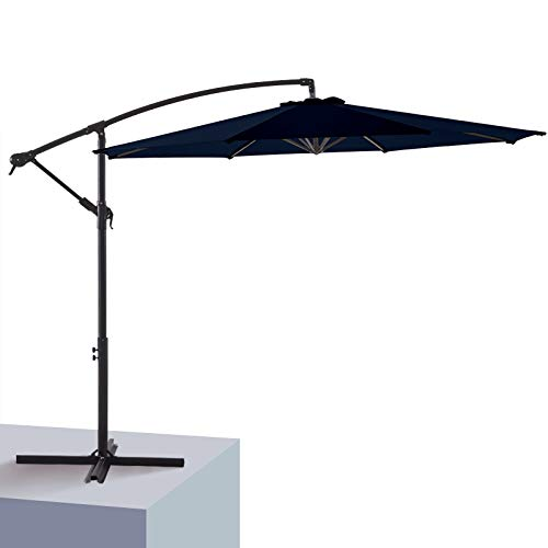 Wikiwiki Patio Offset Hanging Umbrella 10 FT Cantilever Outdoor Umbrellas w/Infinite Tilt, Fade Resistant & Waterproof Solution-dyed Fabric & Cross Base, for Yard, Garden, Deck & Lawn (Navy Blue)