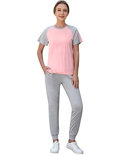 Doaraha Pijamas para Mujer Verano Camiseta de Manga Corta y Pantalones Largos Conjunto de Chándal para Dormir,Deportes,Fitness