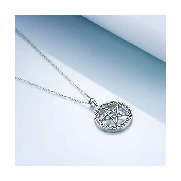 YFN Sterling Silver Pentagram Pentacle Necklace Celtic Star Moon Pendant Wiccan Jewelry Gifts for Women Men