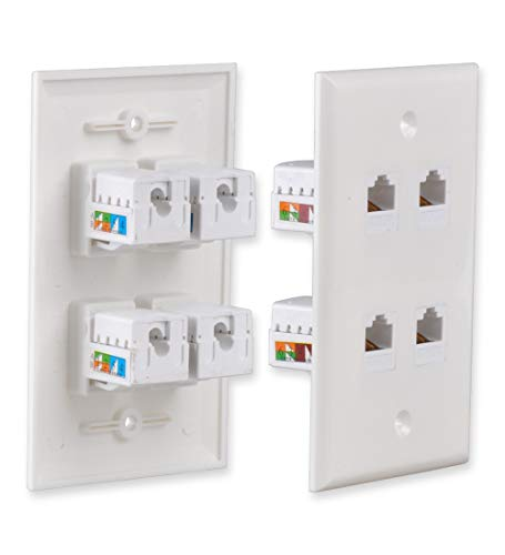 Besmelody Ethernet Wall Plate, Punch-Down Snap-in F/F Feed-Through CAT-6/CAT-5E Keystone Coupler Jack, White