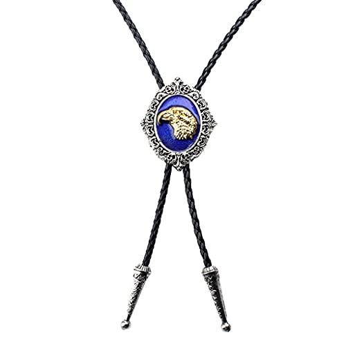 NC NC Águila Patrón Occidental Vaquero Rodeo Bolo Corbata Corbata Bola Colgante Collar - Azul