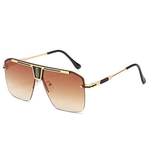 HUANGDAN 2021 Hombres Big Frame Gafas de Sol, Gafas de Sol de Metal de Playa de Personalidad, Gafas de Sol de conducción,D