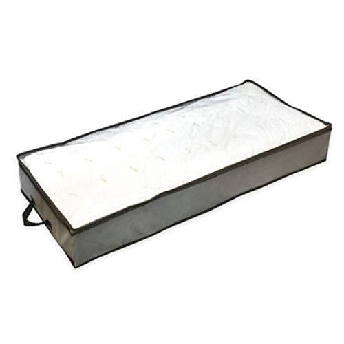 thorityau Caja de almacenamiento plegable para debajo de la cama, organizador de ropa de gran capacidad, a prueba de polvo, con cremalleras, para mantas, edredones (103 × 45 × 15 cm)