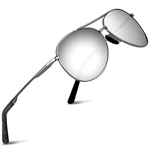 wearPro Pilotenbrille Polarisierte Sonnenbrille Herren Polarisiert Pilotenbrille Sonnenbrille Herren Verspiegelt (Rahmen:Silber;Linsen:Silber)