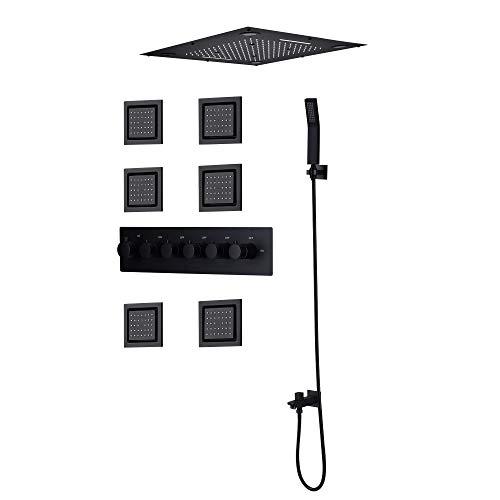 SJIUH Juego de Ducha Juego de Grifo de Ducha Negro Techo de baño, Mezclador termostático de Cascada de Lluvia, Cabezal de Ducha LED