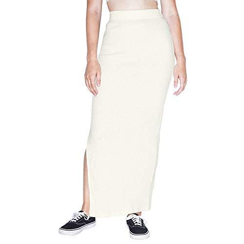 American Apparel Women's Thick Rib Maxi Skirt, Star White, X-Large