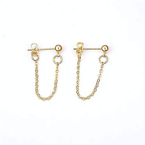 Pendientes De Cadena De Bolas De Color Dorado De 4 Mm para Mujer Pendientes De Manguitos De Oreja Pendientes De Envoltura De Cadena Fina Simple Regalos (Metal Color : Gold)