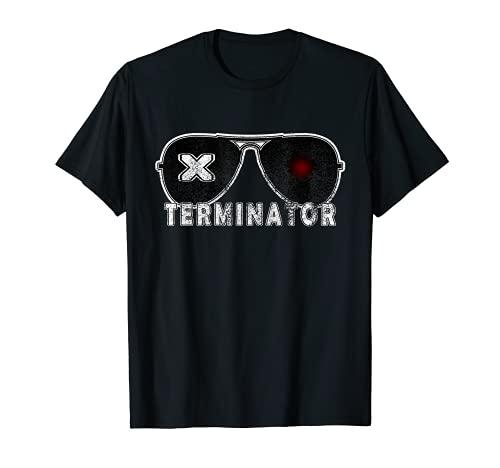 X Terminator Pest Control Gafas De Sol Vintage Retro Negro Camiseta