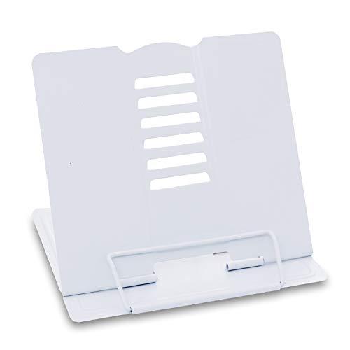 sinzau Atril de lectura portátil multifuncional de metal con 6 niveles ajustables, para cocina y oficina, color blanco