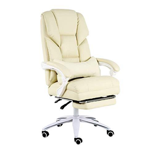 Silla de Oficina con Respaldo Tipo S |Cuero fácil de Limpiar |Rodillo silencioso de Nailon |Cojín de 18 cm de Grosor |Adecuado para Oficina y hogar (Blanco)