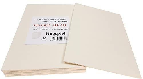Hagspiel Laubsägeholz, 10 Stk. Sperrholz, Sperrholzplatten, Pappel 4 mm DIN A4 Qualität AB/AB, Laubsägeholz, Bastelholz (ca. 30 cm x 21 cm), Made in EU