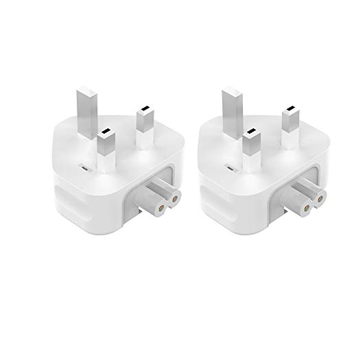 AC Power Adaptor Charger Plug(2 Pack), DGTRD 3 Pin UK Standard Duck Head Wall Adapter Charge Plug for MacBook Pro Air Mac iBook iPhone iPod iPad etc(2 Gen)-White