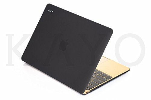 MacBook 12inch Caso, Kayo essentials-for Macbook 12con Retina Display A1534(nueva versión 2016/2015) carcasa de TPU mate con suave suave sedoso touch-simply negro