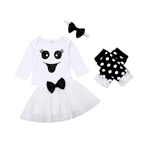 Carolilly Halloween 4 PCS Completini Abito Bambina Neonata Pagliaccetto a Manica Lunga Stampa Faccia Divertente+ Gonna in Tulle+Fascia+Scaldamuscoli