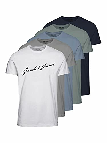 Jack & Jones Jorjax tee SS Crew Neck 5pk MP Camiseta, White/Pack:1white 1drizle 1navy 1ashley 1green, L para...