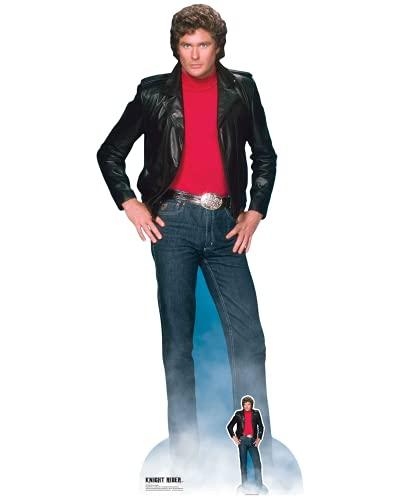 Star Cutouts SC1381 Michael David Hasselhoff Knight Rider Coupe en Carton avec Mini Standee Gratuit Parfait pour Les fêtes des années 80, Les Fans et Les événements 190 cm de Haut, Taille Unique